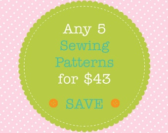 Sewing Pattern Bundle - Save When You Buy 5 PDF Sewing Patterns. Multiple Purchase Discount. You Choose Patterns