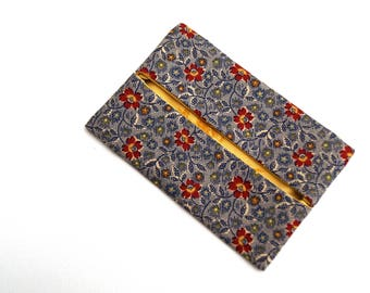 Pocket Size Tissue Holder in Red and Blue, Floral, Country Fabric Travel Tissue Cover
