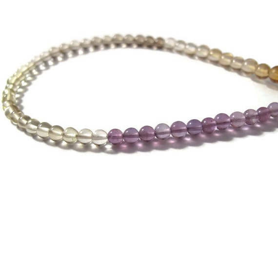 Amethyst, Lemon Quartz & Smoky Quartz Beads, Smooth Natural Gemstones, 4mm Rounds for Making Jewelry (S-Mix1)