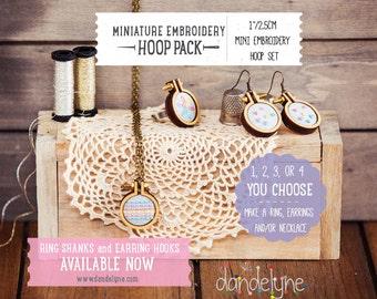 """1""""/2.5cm mini embroidery hoop kit ***NEW***  jewellery DIY - earrings, rings, necklaces using the unique Dandelyne miniature hoop"""