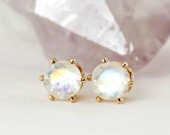 Natural Blue Rainbow Moonstone Stud Earrings, Pair 3mm 4mm 5mm or 6mm in 14k Gold Filled or Sterling Silver, June Birthstone, Gemstone studs
