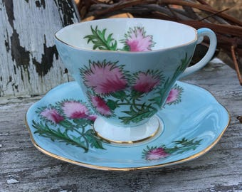 Vintage Foley Cup and Saucer Glengarry Thistle a Sweetheart Tea Cup and Saucer