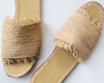 Fringed Woven Straw Sandals | Holiday | Honeymoon | Hen Party| Slides | Raffia