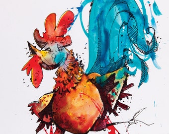Rooster watercolor painting art print