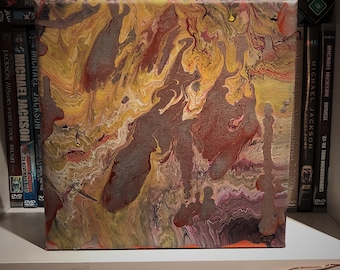 Firey Abstract Acrylic Painting 20x20cm canvas /Acrylic Painting / Fiery Abstract Painting / Small Canvas Painting