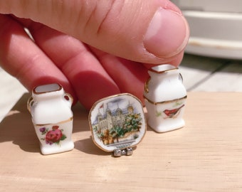 Ceramic vases and plate decorative dollhouse