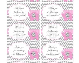 Thank You for Showering Our Little Peanut Insert for Girl Elephant Baby Shower Invitations  (82vt)
