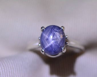 Star Sapphire Ring, Certified 4.91 Carat Star Sapphire Cabochon Solitaire Appraised at 1,475.00, Sterling Silver, Real Natural Genuine