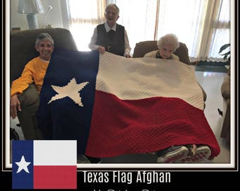 Texas Flag Afghan, C2C Crochet, Graph, & Written Word Chart, Crochet Pattern