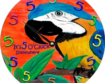 Parrot Head 5 O'clock somewhere wall clock