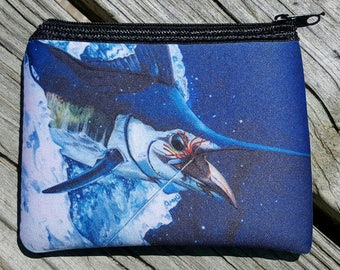 Blue Marlin Hooked Up art Coin Purse zippered pouch neoprene