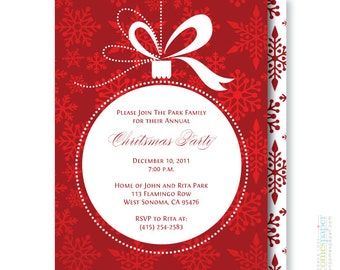 Ornament and Snowflakes Christmas Holiday Invitation