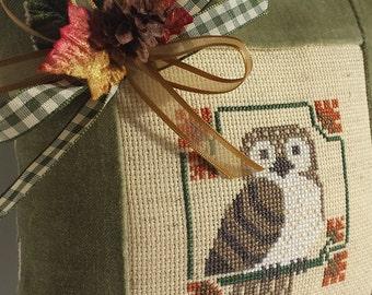 Owl Pillow Vintage Primitive Rustic Folk Art Green Velvet Ticking Cross Stitch Vintage Millinery Florals Harvest Autumn Fall Decoration