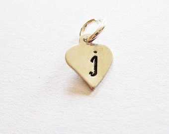 Add initial, personalized heart initial, additional silver initial extra initial initial necklace bracelet tiny heart jewelry hand stamped 1