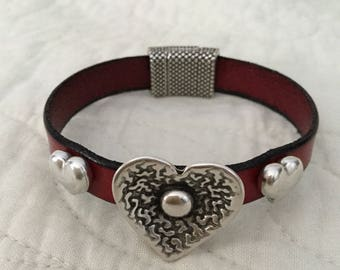 Valentine Hearts on Red Leather Bracelet