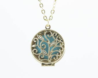 """Essential Oil Diffuser Necklace Crystal Leaf Jewelry with 8 Color Pads - 18"""" Adjustable Chain - FREE Standard Shipping"""
