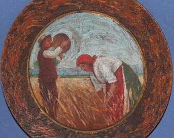 Antique impressionist portrait oil painting harvest