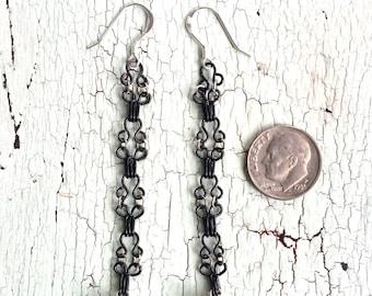 Black and Silver Drop Earrings