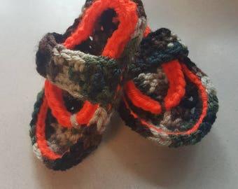 Camo and blaze orange baby flip flops