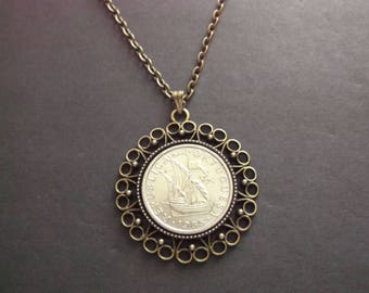 Portugal Coin Necklace - Portugal  Coin Pendant in Pendant Tray dated 1985