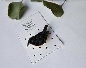beautiful hand made black glitter bird brooch