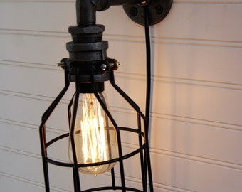 Industrial Farmhouse Wall Sconce Iron Pipe Cage Light