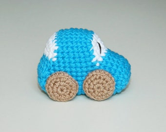 Crochet Amigurumi Car Baby Rattle Toy-Car rattle- Baby rattle- Crochet toy- Baby shower gift- Eco friendly- Amigurumi baby toy- Stuffed toy