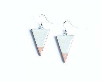 Gray triangle earrings, geometric jewelry, minimalism earrings