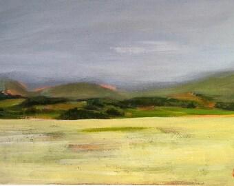 Yellow fields , original painting, acrylic painting, original art, scotland, wood panel, gift, wall decor, landscape, acrylic landscape
