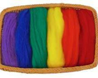 NZ Corriedale Wool Roving - 6 Primary Colors Assortment