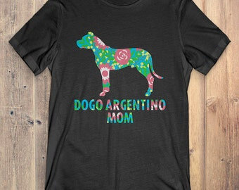 Flower Dogo Argentino T-Shirt Funny Gift: Dogo Argentino Mom