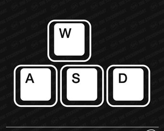 WASD Gaming Keyboard Keys Vinyl Decal
