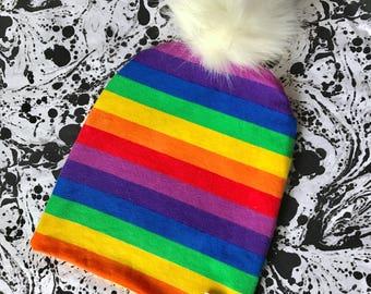 Rainbow Baby Pom Pom Hat, Baby Hat, Fur Pom Pom, Rainbow Hat, Slouchy Hat, Slouchy Pom Pom, Beanie, Fur Pom, Faux Fur, Winter Baby Hat