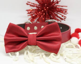 Red wedding dog collar, Red dog Bow Tie, Wedding Accessory, Christmas Pet Gifts