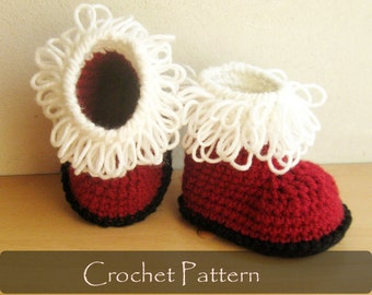 CROCHET PATTERN - Santas Baby Booties Crochet Booty Pattern Red White Shoes Pattern Christmas Santa Claus Booties 0-12 months PDF - P0033