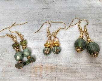 Earrings set - Boho gift - Boho earrings - Green earrings - Trio of earrings - Czech glass earrings -