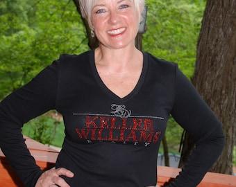Keller Williams   rhinestone  bling  shirt,  all sizes XS, S, M, L, XL, XXL, 1X, 2X, 3X, 4X, 5X cursive