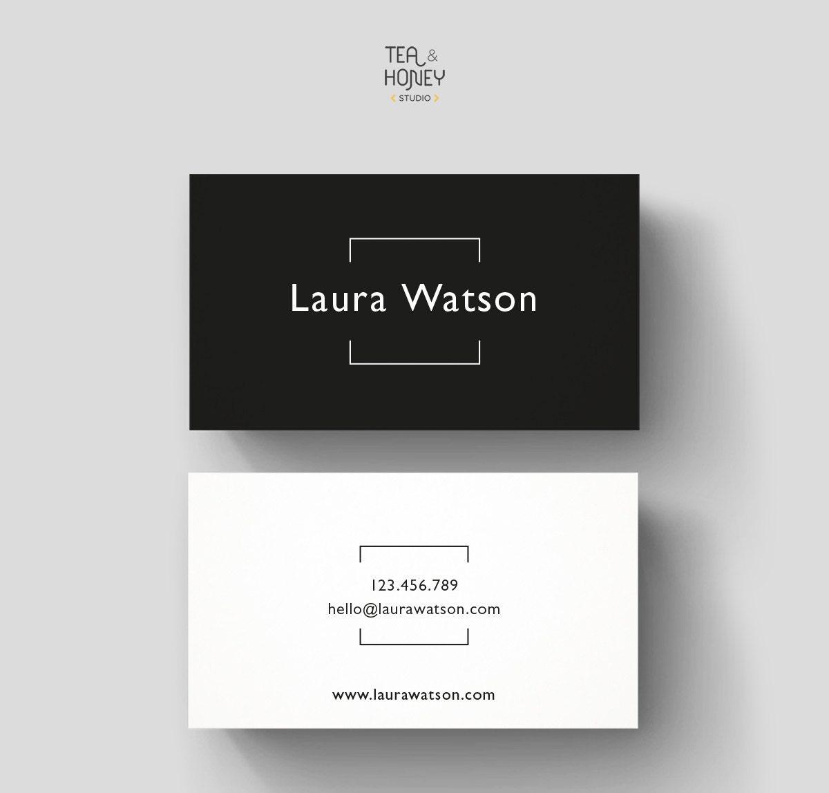Minimalistic Business Card Premade Design Black & White
