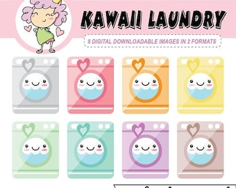 50%off DIGITAL STICKERS, Kawaii Laundry Digital Clipart Icons, washing machine digital download, digital stickers for Goodnotes, clip art, c