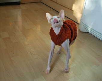 Knit sweater,hand-knitted sweater for small dogs or cats,cat clothes, knitted cat sweater, sphynx sweater, clothes for sphynx,kitten clothes