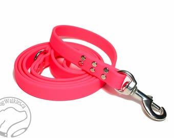 "Neon Hot Pink Genuine Biothane© Large Dog Leash - 3/4"" (19mm) Wide - Waterproof - Handcrafted - Custom length - Choice of hardware"