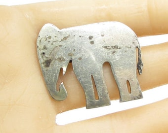 925 sterling silver - vintage lucky elephant brooch pin - bp1033