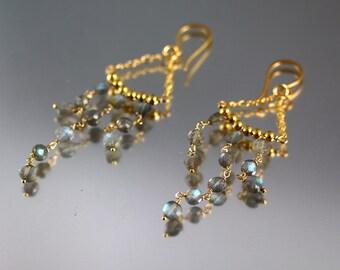 Labradorite Chandelier Earrings - Gold Fill - Labradorite Earrings - 3 Inches