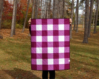 CLEARANCE Berry Gingham Crib Quilt, Ready to Ship