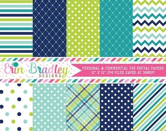 80% OFF SALE Digital Paper Pack Personal and Commercial Use Blue and Green Medley
