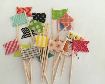 24 Cupcake Topper Flags - Your Choice of Cupcake Toppers - Decorative Toothpicks, Style #1