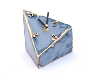 Wood Desk Clock, Table clock Geometric, Triangle, Unique gift, Mothers day gift, Blue Grey clock, Distressed clock, Spring decor