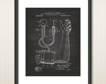 Blood Pressure Cuff 1914 Patent Art Illustration - Drawing - Printable INSTANT DOWNLOAD - Get 5 colors background