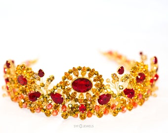 Tiara BAROQUE in gold red made with SWAROVSKI® ELEMENTS