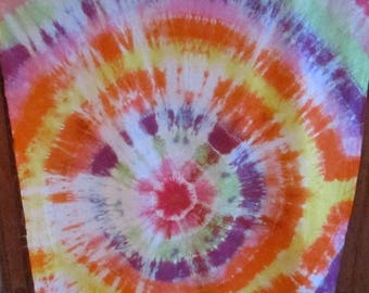 Fabric, Tie Dyed, 1 Yard, American Grown and Made Cotton, Hand Dyed, Quilting, Crafts, Unique, Orange, Yellow, Purple, Green, Pink